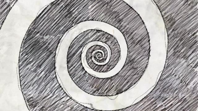stockvideo's en b-roll-footage met schets van psychedelische tunnel in potlood tekening stijl - doodles