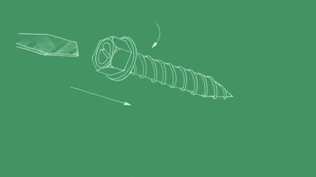 Sketch of Sheet Metal Screw Video Clip Manufacturing and Industry, Motion Clip of Illustration Hand Drawn Sketch of Sheet Metal Screw. A Type of Fastener Use with Sheet Metal and Wood. bolt fastener stock videos & royalty-free footage