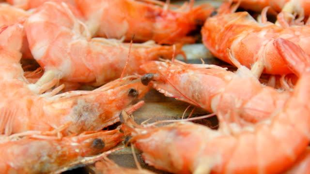 Skewers of shrimp invert grilled video