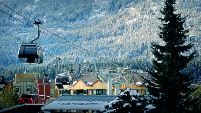 Ski Lift Passing Above Mountain Town video