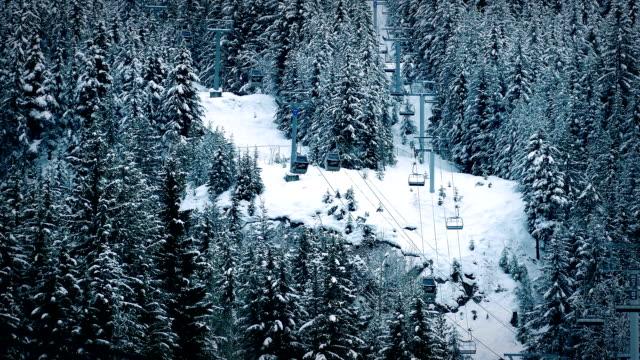 Ski Lift Through Trees In Winter Landscape video