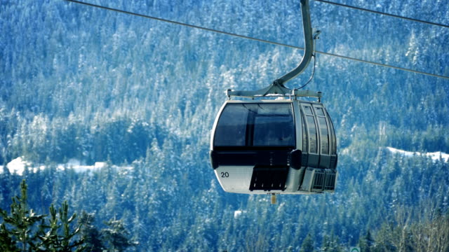 Ski Lifts Passing With Distant Snowy Forest video