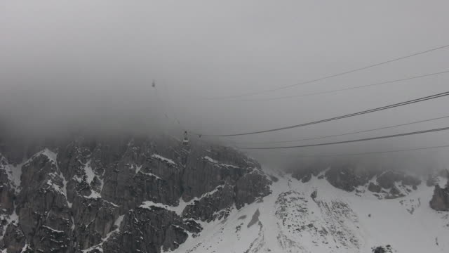 ski resort - cableway disappearing into the fog video