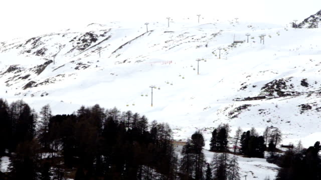 Ski slope in the mountains of St Moritz in Switzerland video