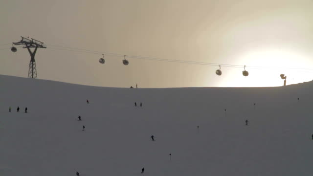 Ski slope under cable car video