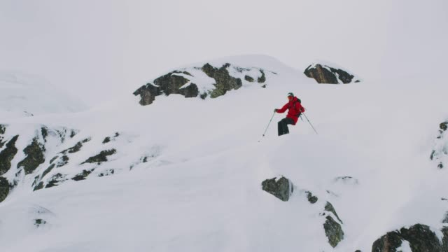 Skier jumps off cliff in the backcountry video