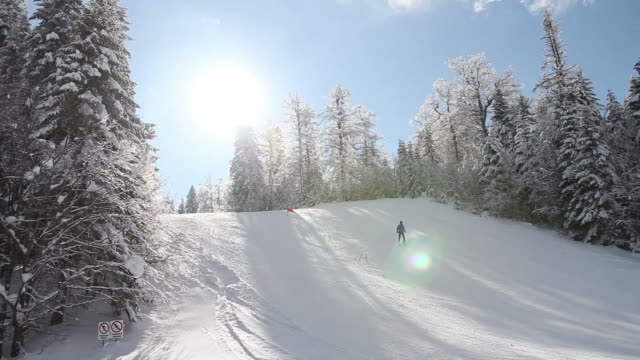 A skier skiing downhill slalom - the shot moves from left to right video