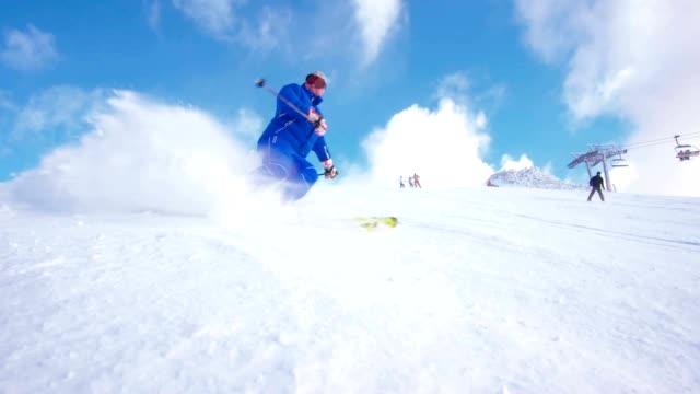 SLO MO Skier spraying snow at camera video