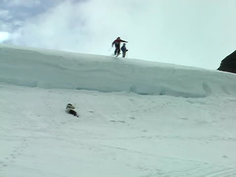 Skiers jumping video