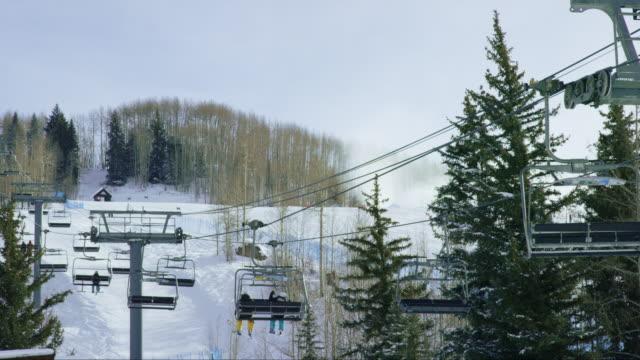 Skiers Ride a Ski Lift at a Colorado Mountain Ski Resort in Winter