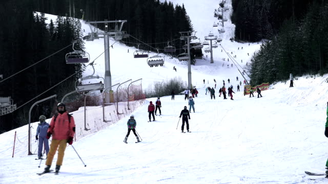 Skiing crowd  at winter holliday in Bansko World cup ski centar resort video