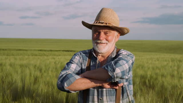 Skilled Old Farmer. Agriculture, Farming Concept.