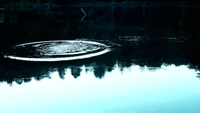 Skimming stones on lake surface