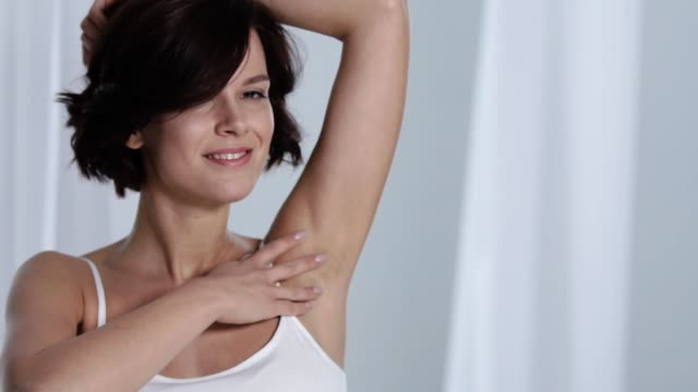 Skin Care. Woman Touching Armpit Skin And Smiling At Camera video