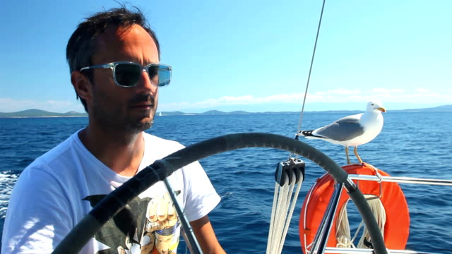 Skipper on sailing boat with seagull on Adriatic sea video