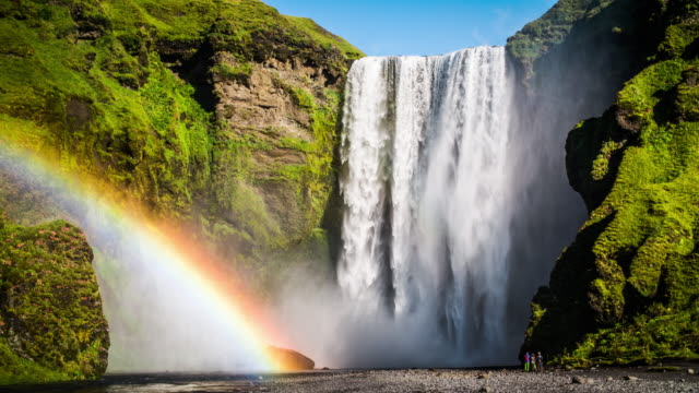 Skogafoss Waterfall with Rainbow in Iceland video