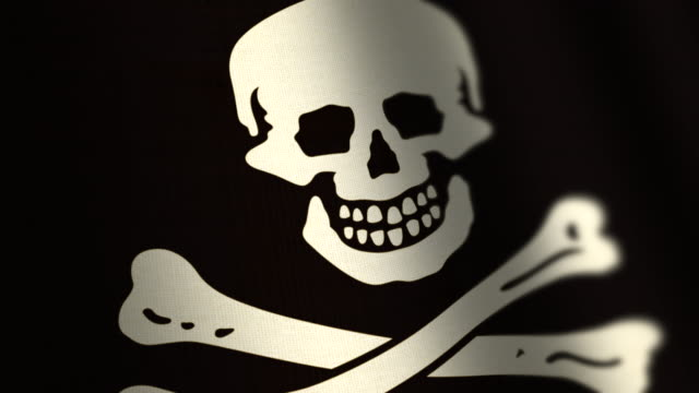 Skull and cross bones pirate flag - loop. 4K. video