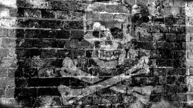 Skull and Crossbones Flag Grunge Wall. 4k