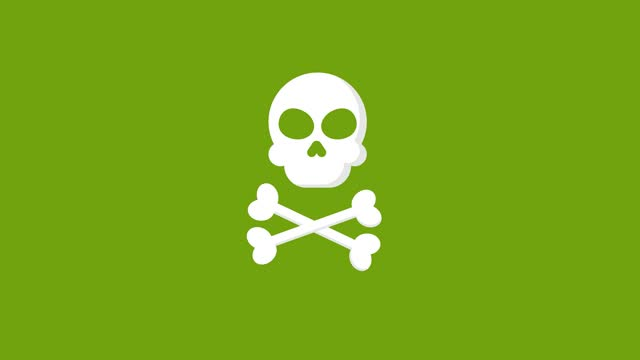Skull And Crossbones icon animation on the green screen background. 4K video. Chroma key. Useful for explainer video, website, greeting cards, apps, and social media posts Skull And Crossbones icon animation on the green screen background. 4K video. Chroma key. Useful for explainer video, website, greeting cards, apps, and social media posts poisonous stock videos & royalty-free footage