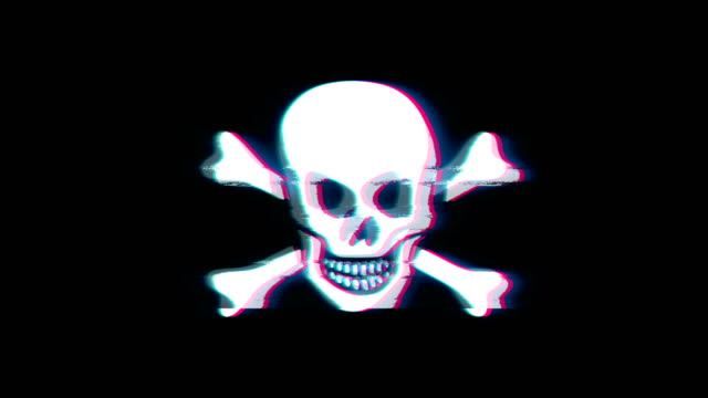 Skull And Crossbones Symbol on Glitch Retro Vintage Animation.