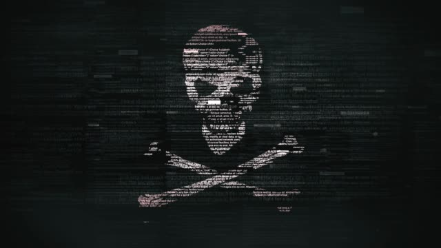 skull & crossbones symbol in glitchy computer screen - hacker стоковые видео и кадры b-roll