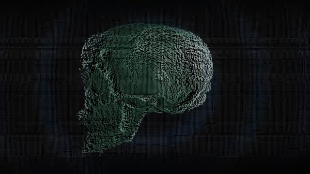 skull digital rotate dots - memories stock videos & royalty-free footage