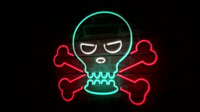Skull neon icon on brick wall