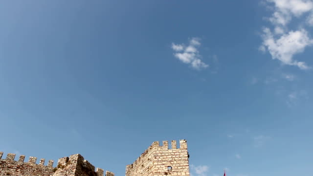 Sky and Historical Selcuk Castle video