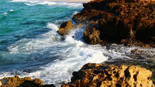 sky in oman beach foam and froath coastline  beach video