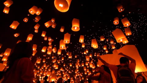 Sky Lantern Loi Krathong Traditional Festival. HD1080p : Loi Krathong (Yi Peng or Yee Peng) festival in Chiang mai Thailand. cultures stock videos & royalty-free footage