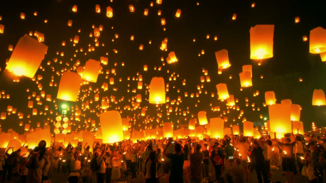 Sky Lantern Loi Krathong Traditional Festival. 4K Format : Loi Krathong (Yi Peng or Yee Peng) festival in Chiang mai Thailand. holiday stock videos & royalty-free footage