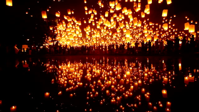 Sky Lantern Loi Krathong Traditional Festival HD1080p : Loi Krathong (Yi Peng or Yee Peng) festival in Chiang mai Thailand. lantern stock videos & royalty-free footage