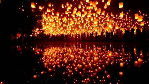 Sky Lantern Loi Krathong Traditional Festival. Loi Krathong (Yi Peng or Yee Peng) festival in Chiang mai Thailand. cultures stock videos & royalty-free footage