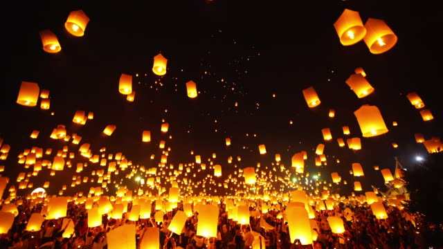 Sky Lantern Loi Krathong Traditional Festival. Lantern festival in Chiang mai Thailand. candle stock videos & royalty-free footage