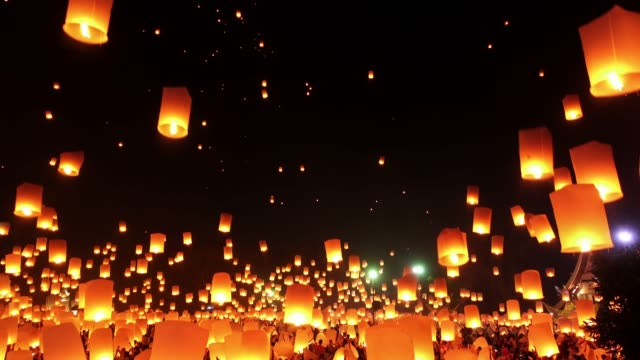 Sky Lantern Loi Krathong Traditional Festival. Loi Krathong (Yi Peng or Yee Peng) festival in Chiang mai Thailand. lantern stock videos & royalty-free footage