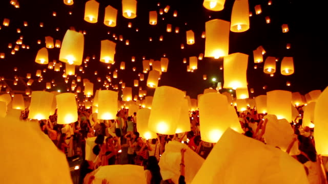 sky lantern traditional festival - sky lantern stock videos and b-roll footage