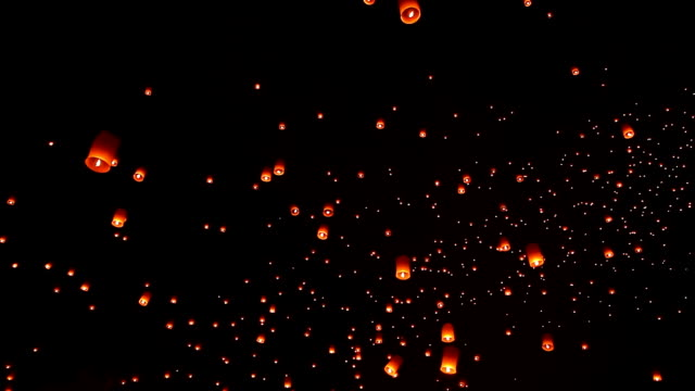 Sky Lantern Traditional Festival. HD1080p : Loi Krathong (Yi Peng or Yee Peng)  festival in Chiang mai Thailand. lantern stock videos & royalty-free footage