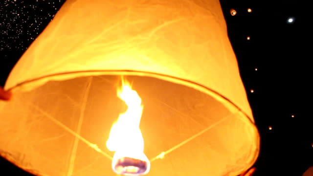 Sky Lanterns for Yee Pend Festival in Chiang Mai Thailand video
