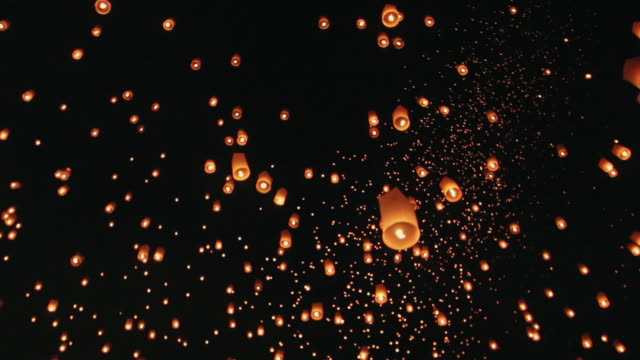 Sky lanterns in Chiang Mai ,Thailand . The most beautiful Thai traditional Yi Peng (Loi Krathong) festival Sky lanterns in Chiang Mai ,Thailand . The most beautiful Thai traditional Yi Peng (Loi Krathong) festival lantern stock videos & royalty-free footage