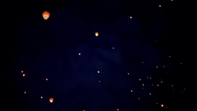 sky lanterns - sky lantern stock videos and b-roll footage