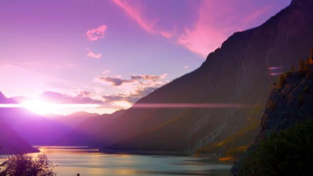 Sky Lens Flare, Purple Mountain Ridge Sunset, Pink Landscape