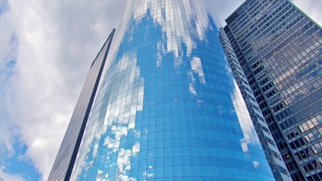 Sky Reflaction in Businees Office Building. Manhatan Financial District