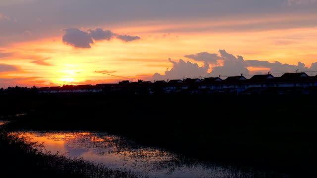 sky sunset and green grass field and pond as foreground video