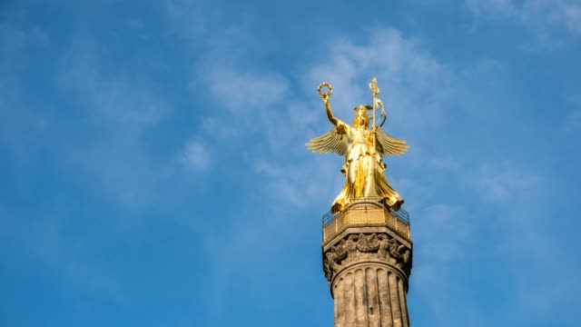 Sky timelapse at Berlin Victory Column statue (Siegessaule), Berlin Germany, 4K Time Lapse video