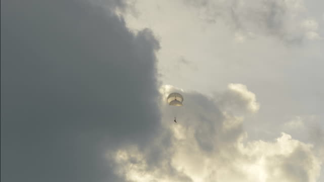 Skydiver landing with two parachutes - slowmotion 60fps video