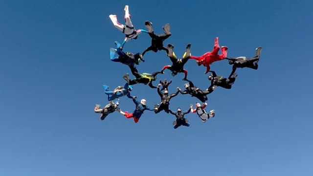 Skydiving low angle view