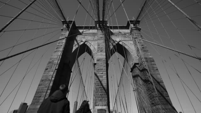 skyline and brooklyn bridge - black and white architecture stock videos & royalty-free footage