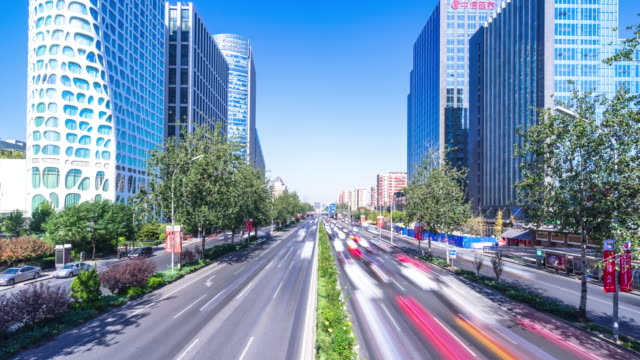 skyline and busy traffic on street in Beijing time lapse 4k video