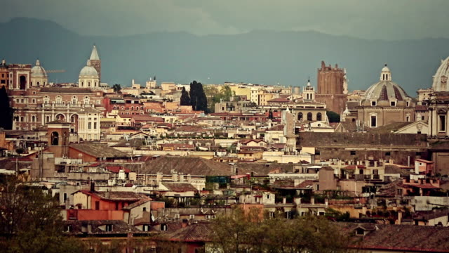 Skyline and domes of Rome from Gianicolo Hill video