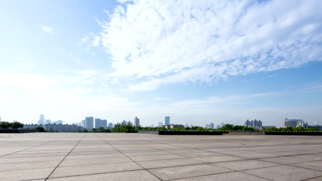 skyline and empty square in modern city Ningbo during daytime,time lapse. video